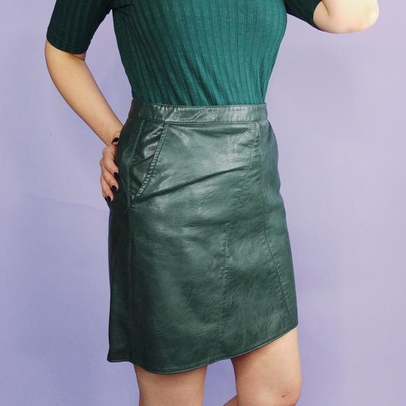Zara Dresses & Skirts - Zara Dark Green Faux Leather Mini Skirt